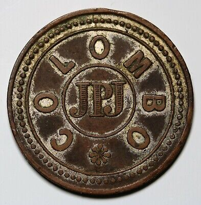 Ceylon James Perera Jayatilleka 1876 - Colombo, 19 Cents Token RARE