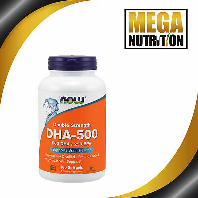 NOW Foods DHA 500/EPA 250 Double Strength 180 Softgels | Omega-3 Fish Oils