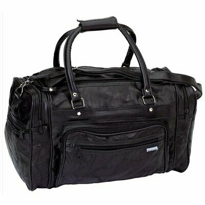 New! Black GENUINE Leather Tote Bag Gym Duffle Travel Luggage Overnight Carry-on
