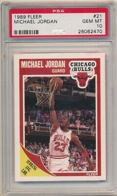 Michael Jordan 1989/90 Fleer Basketball #21 Chicago Bulls Psa 10 Gem Mint $500+