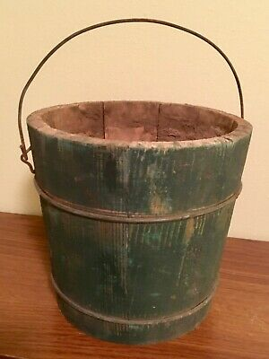Antique Green Wood Bucket with Handle