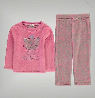Girls Crafted Ribbed Cuddle Soft Fleece Pyjama Set Sizes Age from 1 to 8 Yrs