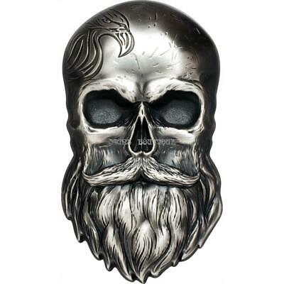 BIKER SKULL 1 oz Ultra High Relief shaped silver coin antiqued Palau 2019