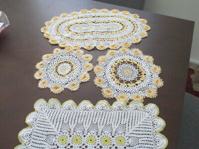 8 Shabby Chic Hand Crocheted Doilies. Beautiful Work. Use in Other Craft. LOOK!