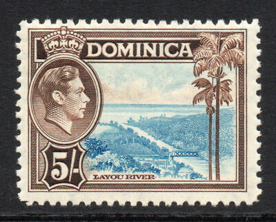 Dominica 5/- Stamp c1938-47 Mounted Mint