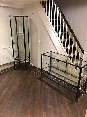 Pair Of Large Glass Display Cabinet With Lockable Front Door For Retail
