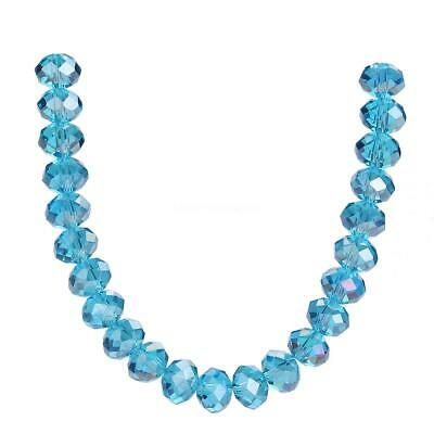 Glass Rondelle Wholesale Lake blue AB Faceted 3-14mm Crystal Loose Beads Jewelry