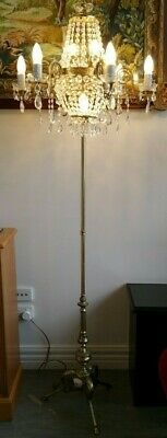 Vintage Brass and Crystal Floor Lamp Maria Theresa