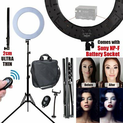 18in/45.5cm 3000K-6000K Bi-color LED Dimmable Ring Light with Stand Remote Clamp