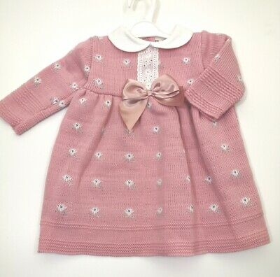 Baby girl dress Spanish Style Knitted bow Dusky Pink  0-3m 3-6 months 6-9 months