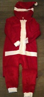 Kids Girls Boys  Santa Claus Fluffy Xmas soft fleece One Piece fancy dress