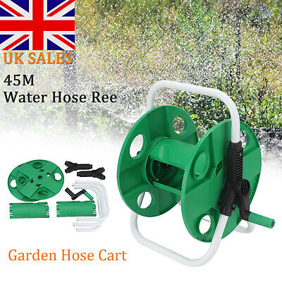 Portable 45m Reinforced Tough Garden Hose Pipe Reel Cart Trolley Free Standing