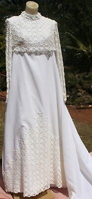 Vintage 1960s WEDDING DRESS, Empire Line Guipure LACE and Poly Crepe,10, SAVE !