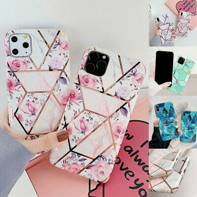 Geometric Marble Case For iPhone 11 Pro Max XS XR 8 7 6 Plus Flower Pastel Cover