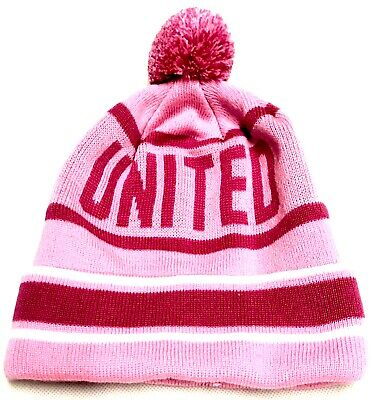 United Hat Pink Bobble Pom Pom Manchester Football Gifts