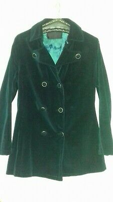 Psych 60s/70s Double Breasted Corduroy coat/Jacket. Teal 12-14