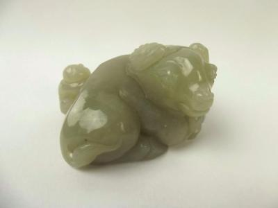 Chinese Qing Dynasty Nephrite Jade Carving Of A Buffalo Playing With Child