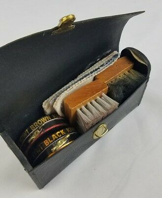 Vintage Kiwi shoe shine compact travel kit Sheldon Shrunken grain steer