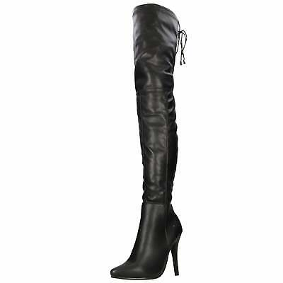 Black Thigh High Heel Stiletto Over Knee Boots Stretch Pole Fetish Party Erotic