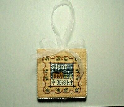 """Finished Christmas Cross Stitch """"SILENT NIGHT"""" Ornament/Door Hanger"""