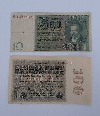 Germany 100 Million Mark 1923 & 10 Reichmark 1929 Banknote Notes