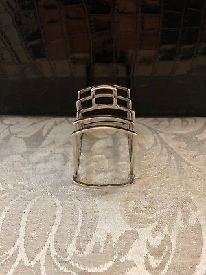 Antique English Hallmarked Sterling Silver Miniature Toast Rack Desk Accessory