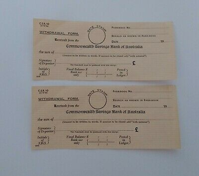 Vintage Commonwealth Savings Bank Of Australia Withdrawal Form x2 Unused
