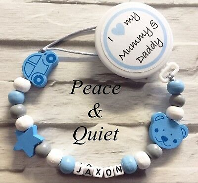 Personalised Wooden Dummy Clip💙love My Mummy And Daddy💙Chain💙Blue💙boy #BWP