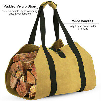 Log Tote Bag Outdoor Fireplace Carrier Portable Wood Firewood Storage Bag Canvas