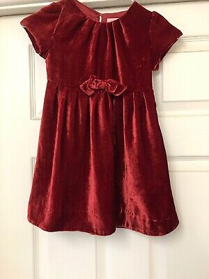 Mini Boden Pretty Velour Red Dress Party / Christmas Age  3 - 4 Years