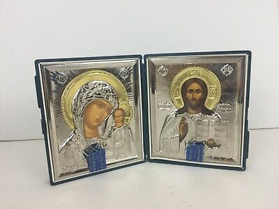 Christ the Teacher Madonna & Child Catholic Orthodox Icon Diptych Pantocrator