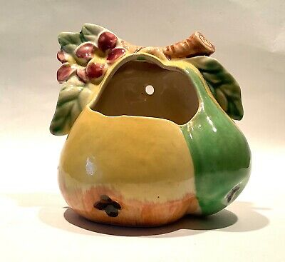 Vintage Ceramic Pear Hanging Wall Pocket Vase Made In Japan Pioneer Mdse NY MCM
