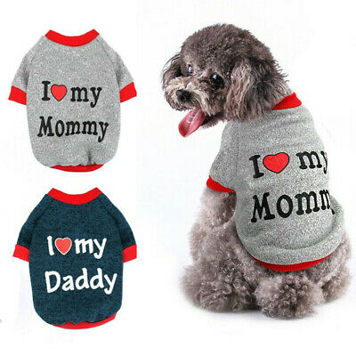 I Love My Mommy Daddy Dog Coat Sweater for Small Dog Dogs Yorkie Chihuahua Pug