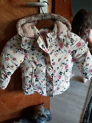 George Girls Padded PufferJacket Coat Age 2 3 Years Lined Floral Hooded Faux Fur