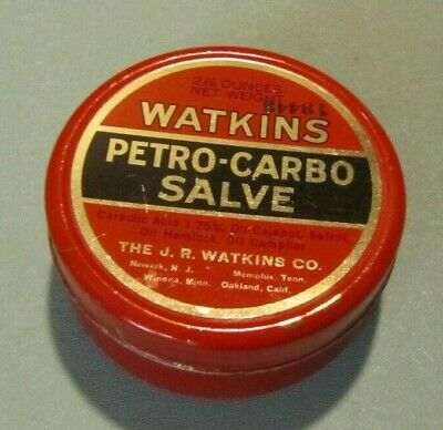 Vintage Watkins Petro Carbo Salve Red Advertising Tin with Contents Winona MN