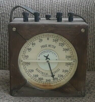 Antique Vintage Westinghouse Phase Meter OAK Box w/ Case Electrical Testing