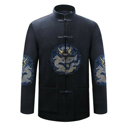 Winter Mens Chinese Woolen Jackets Vintage Embroidered Thick Warm Coats Outwear