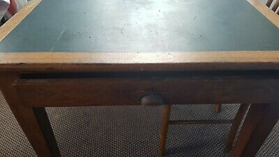Antique Georgian Kitchen Table 1930's With green inlay and 2 Draws