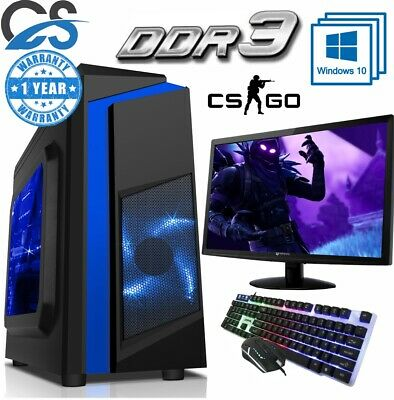 Fast Gaming PC Computer Bundle Intel Quad Core i5 8GB 1TB 2GB GT710 Win10
