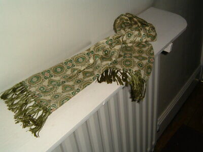 Vintage Retro Mens Tootal Scarf Green Paisley Pattern Mods Goodwood