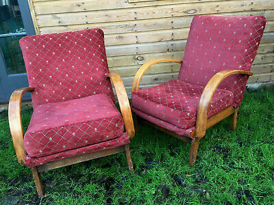 Pair of Vintage ART DECO Arch Back Club Arm Chairs - Low Easy Chairs 1940s 1930s