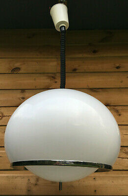 Vintage HARVEY GUZZINI Italian Rise Fall Rolly Ceiling Pendant Lamp Light 1970s