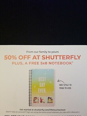 Shutterfly 50% off + Free 5x8 Notebook Codes Exp 12/31/19