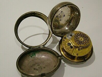 Antique Hm 1792 Solid English Silver Pair Cased Pocket Watch Verge Fusee  (850)