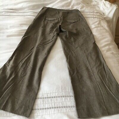 Dark Khaki Smart Fitted Flare Trousers In Size 12 W32 L43 By River Island