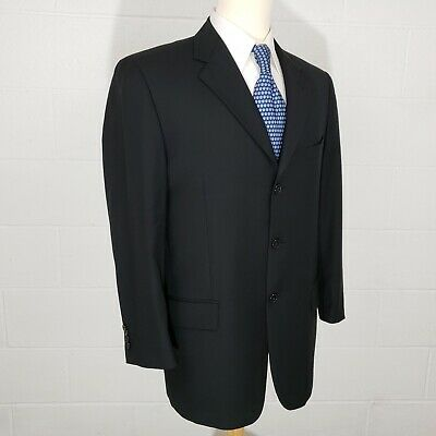 Joseph Abboud Mens 40R Navy Blue 3 Button Dbl Vent Wool Sport Coat Jacket Blazer