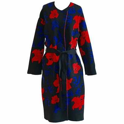 Emilio Pucci NWT Floral Rib Knit Sweater Coat in Black, Blue and Red S