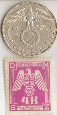 -*silver  *WWII -  *german SILVER EAGLE(.625%,25 mm,.1607 oz)-2 mk. coin/stamp