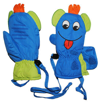 Gloves/Mittens - with Long Shaft - Funny 3-D Face - Blue