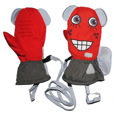 Gloves/Mittens - with Long Shaft - Funny 3-D Face - Grey